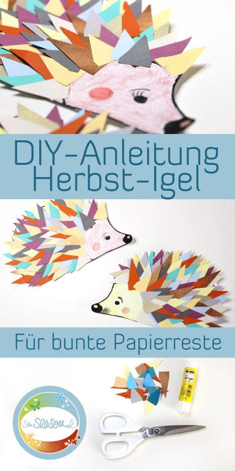 DIY-Anleitung für einen bunten DIY-Igel aus Papierresten. Tolle Restverwertung für den Bastelnachmittag im Herbst.