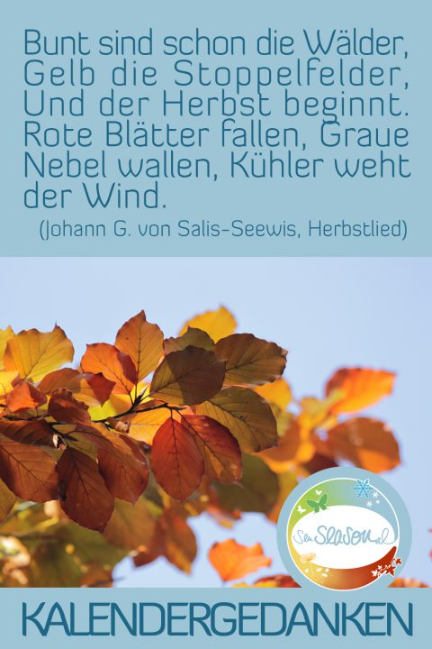 Kalendergedanken - Kalenderblätter nachgereicht: Herbstblätter und Herbstlied, Monat Oktober 2016