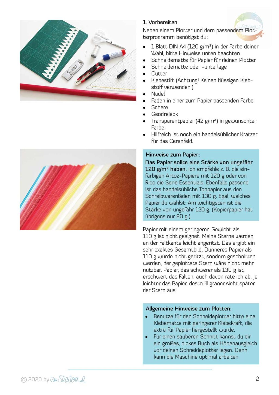 Ausschnitt Anleitung für die Plotterdatei Papierstern Sternschnuppe