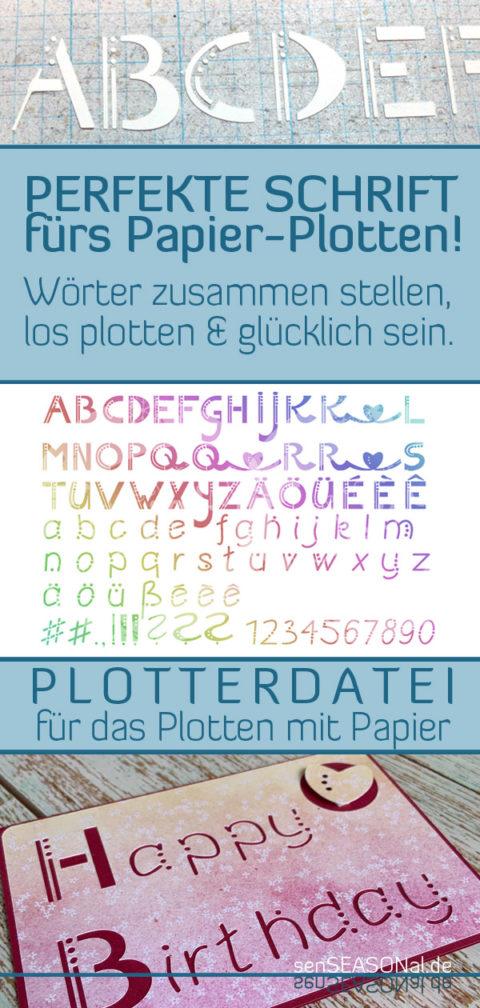 Merk dir den Blog-Beitrag zur optimierten Schrift für das Plotten mit Papier bei Pinterest